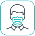 Icon representing someone wearing a mask covering