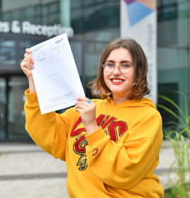 Our student Bethany celebrating her results