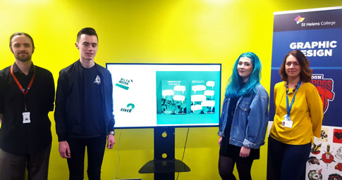Group Photo (Left to Right): Graham Williams, Graphic Design Tutor, Matthew Mitchell and Chloe Berrigan, Graphic Design Students and Victoria Reynolds, Merseyside Health Sector Careers and Engagement Hub.